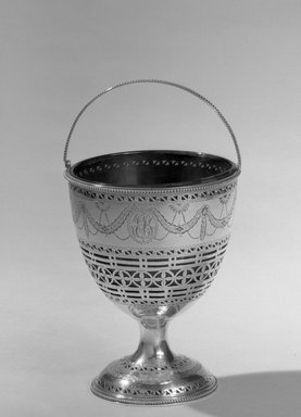 Hester Bateman (English, active in London, 1774-1789). Sugar Basket, ca. 1709-1794. Silver, 5 1/2 x 3 1/8 in. (14 x 7.9 cm). Brooklyn Museum, Gift of Mr. and Mrs. Frederick B. Hicks, 64.152.12a-b. Creative Commons-BY