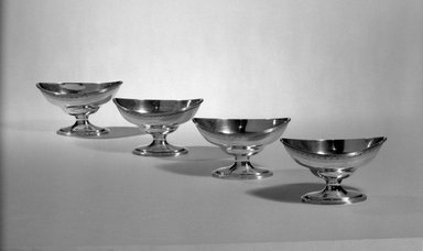Hester Bateman (English, active in London, 1774-1789). Set of Four Salts, ca. 1790-1791. Silver, 2 1/2 x 2 1/2 x 4 1/8 in. (6.4 x 6.4 x 10.5 cm). Brooklyn Museum, Gift of Mr. and Mrs. Frederick B. Hicks, 64.152.17. Creative Commons-BY