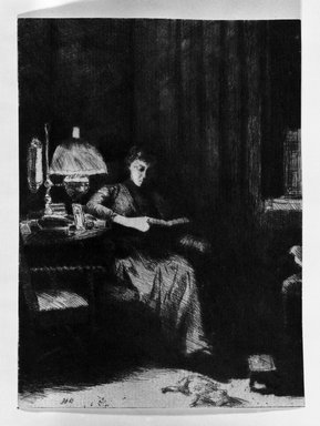 Julian Alden Weir (American, 1852-1919). The Evening Lamp, ca. 1890. Drypoint, etching on blue-gray laid paper, 5 1/4 x 3 7/8 in. (13.3 x 9.8 cm). Brooklyn Museum, Gift of Joseph S. Gotlieb, 64.166.5