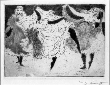 Lovis Corinth (German, 1858-1925). Dancers (Tänzerinnen), 1895. Etching with roulette and plate tone on thin Japan paper, Image (Plate): 5 5/16 x 7 1/2 in. (13.5 x 19.1 cm). Brooklyn Museum, Gift of Margarete Schultz, 64.17