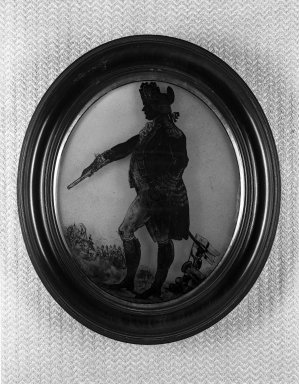 Silhouette of Officer Standing Facing Left, 18th century. Paint on glass, backed in plaster, wood frame, framed size: 9 x 10 5/8 in. (22.9 x 27 cm). Brooklyn Museum, Gift of the Estate of Emily Winthrop Miles, 64.195.75