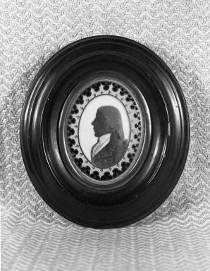 Silhouette; Bust of Man Facing Left, ca. 1790. Paint on ivory, gilt inner frame, wood outer frame, 3 7/8 x 4 3/8 in. (9.8 x 11.2 cm). Brooklyn Museum, Gift of the Estate of Emily Winthrop Miles, 64.195.78