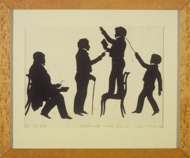 August Edouart (French, 1789-1861). Cut Silhouette of Four Full Figures, ca. 1830. Paper, wood frame with gilt trim, framed size: 15 x 18 in. (38.1 x 45.7 cm). Brooklyn Museum, Gift of the Estate of Emily Winthrop Miles, 64.195.93