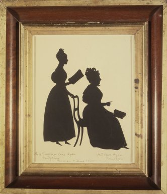 August Edouart (French, 1789-1861). Cut Silhouette of Two Women Facing Right, ca. 1835. Paper (?), framed size: 14 1/2 x 12 3/4 in. (36.7 x 32.4 cm). Brooklyn Museum, Gift of the Estate of Emily Winthrop Miles, 64.195.97