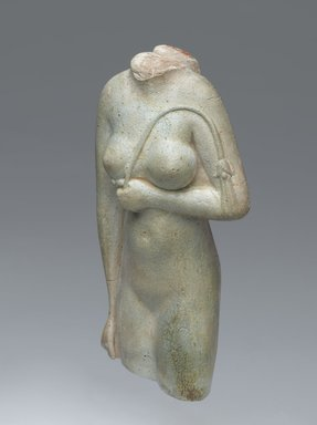 Headless Statuette of a Female, 305-30 B.C. Faience, 4 3/16 x 2 1/16 in. (10.6 x 5.2 cm). Brooklyn Museum, Charles Edwin Wilbour Fund, 64.198. Creative Commons-BY