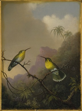 "Martin Johnson Heade (American, 1819-1904). Two Humming Birds: ""Copper-tailed Amazili,"" ca.1865-1875. Oil on canvas, 11 9/16 x 8 7/16 in. (29.3 x 21.5 cm). Brooklyn Museum, Dick S. Ramsay Fund, 64.208"