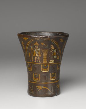 Kero Cup, late 16th-17th century. Wood with pigment inlay, 7 13/16 x 6 1/2in. (19.8 x 16.5cm). Brooklyn Museum, Gift of Dr. Werner Muensterberger, 64.210.2. Creative Commons-BY