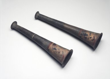 Paracas. Pair of Trumpets, 300-100 B.C.E. Clay, colored resin enamels, a: 11 7/16 x 3 1/8 x 3 1/8 in. (29.1 x 7.9 x 7.9 cm). Brooklyn Museum, A. Augustus Healy Fund, 64.218a-b. Creative Commons-BY