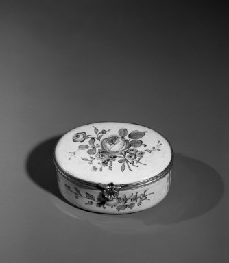 Veuve Perrin. Box, ca. 1765. Enamel over copper, silver, 1 1/2 x 2 7/8 x 2 3/8 in. (3.8 x 7.3 x 6 cm). Brooklyn Museum, Anonymous gift, 64.241.11. Creative Commons-BY