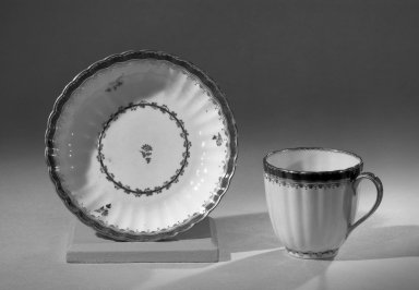 Derby Porcelain Factory (1750-present). Coffee Cup and Saucer, from Set, ca. 1795 - 1796. Porcelain, cup: 2 1/2 x 2 5/8 in. (6.4 x 6.7 cm). Brooklyn Museum, Anonymous gift, 64.241.44. Creative Commons-BY