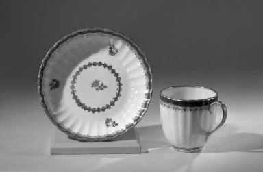 Coffee Cups and Saucers, One of Set, ca. 1795 - 1796. Porcelain, cup: 2 1/2 x 2 5/8 in. (6.4 x 6.7 cm). Brooklyn Museum, Anonymous gift, 64.241.45. Creative Commons-BY