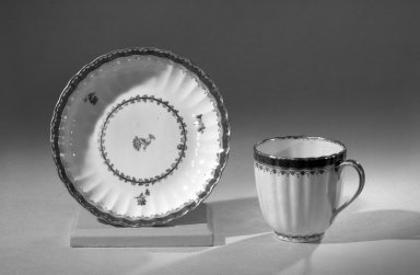 Coffee Cups and Saucers, One of Set, ca. 1795 - 1796. Porcelain, cup: 2 1/2 x 2 5/8 in. (6.4 x 6.7 cm). Brooklyn Museum, Anonymous gift, 64.241.47. Creative Commons-BY