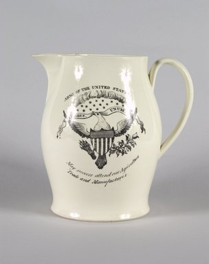 Pitcher, ca. 1820. Earthenware, 7 11/16 x 4 15/16 in. (19.5 x 12.5 cm). Brooklyn Museum, Gift of Mrs. William C. Esty, 64.244.26. Creative Commons-BY