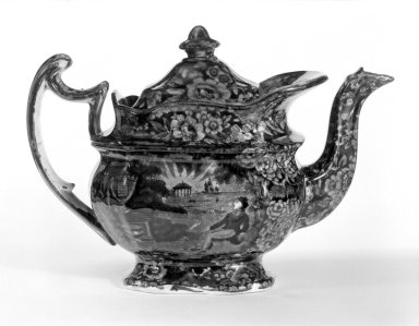 Enoch Wood & Sons (active 1818-1846). Teapot and Cover, ca. 1830. Earthenware, 7 1/2 x 3 1/2 x 4 3/8 in. (19.1 x 8.9 x 11.1 cm). Brooklyn Museum, Gift of Mrs. William C. Esty, 64.244.37a-b. Creative Commons-BY