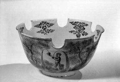Van Eenhorn Factory. Monteith Bowl, about 1680. Glaze earthenware, 6 1/8 x 11 7/8 in. (15.6 x 30.2 cm). Brooklyn Museum, Purchased with funds given by anonymous donors, 64.3.3. Creative Commons-BY