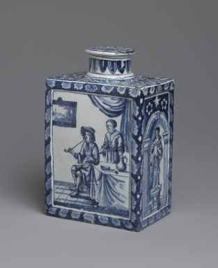 Tea Caddy, ca. 1698. Glazed earthenware, 6 5/8 x 4 1/2 x 3 in. (16.8 x 11.4 x 7.6 cm). Brooklyn Museum, 64.3.4a-b. Creative Commons-BY