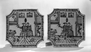 Pair of Wall Plaques, ca. 1700. Glazed earthenware, 9 1/2 x 9 1/2 in. (24.1 x 24.1 cm). Brooklyn Museum, Purchased with funds given by anonymous donors, 64.3.5a-b. Creative Commons-BY