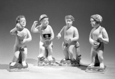 J. Kruyk. Delft Figures, ca. 1690. Glazed ceramic, 9 3/4 x 3 1/2 in. (24.8 x 8.9 cm). Brooklyn Museum, Purchased with funds given by anonymous donors, 64.46.2a-d. Creative Commons-BY