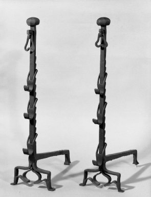 Pair of Andirons, 17th century. Iron, H: 36 in. (91.4 cm). Brooklyn Museum, Purchased with funds given by anonymous donors, 64.46.4a-b. Creative Commons-BY