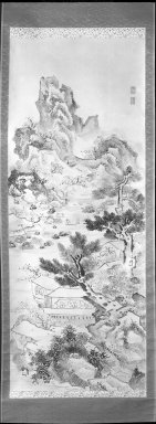 Ike-No Taiga (Japanese, 1723-1776). Landscape, 18th century. Ink on paper, Image: 52 1/2 x 20 3/8 in. (133.4 x 51.8 cm). Brooklyn Museum, Purchased with funds given by Carl L. Selden and A. Augustus Healy Fund, 64.6