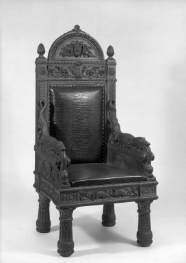 John Quincy Adams Ward. Armchair (relic) (Renaissance Revival style), ca. 1880. Oak, alligator-finish cowhide upholstery, 59 1/2 x 27 3/4 x 25 1/2 in. (151.1 x 70.5 x 64.8 cm). Brooklyn Museum, Gift of The Honorable E. J. Dimock, 64.77. Creative Commons-BY