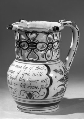 Puzzle Jug, 1733. Earthenware or Delft ware, 7 x 4 1/2 in. (17.8 x 11.4 cm). Brooklyn Museum, Bequest of H. Randolph Lever, 64.80.40. Creative Commons-BY