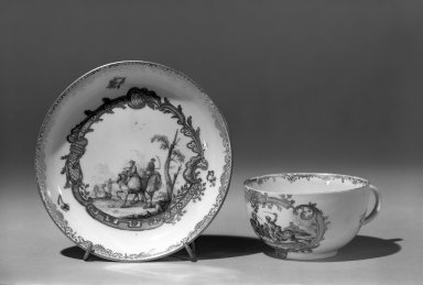 Meissen Porcelain Factory. Cup and Saucer                                                  Violet/gold, ca.1770. Porcelain, Cup: 1 3/4 x 3 1/16 in. (4.4 x 7.8 cm). Brooklyn Museum, Gift of the Estate of Emily Winthrop Miles, 64.82.129a-b. Creative Commons-BY