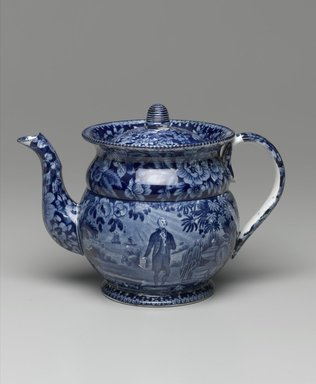 Enoch Wood and Sons. Coffee Pot and Lid, ca. 1825-1835. Earthenware, 6 x 5 1/2 x 5 1/2 in. (15.2 x 14 x 14 cm). Brooklyn Museum, Gift of the Estate of Emily Winthrop Miles, 64.82.240a-b. Creative Commons-BY