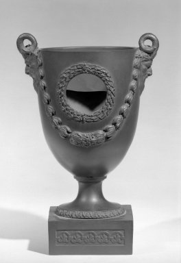 Wedgwood & Bentley (1759-present). Urn, ca. 1780. Glazed stoneware, 9 3/8 x 3 5/8 x 3 1/2 x 4 1/2 in. (23.8 x 9.2 x 8.9 x 11.4 cm). Brooklyn Museum, Gift of the Estate of Emily Winthrop Miles, 64.82.33. Creative Commons-BY