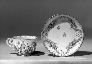 Capo di Monte. Cup & Saucer, ca. 1760. Porcelain, cup: 2 1/2 x 3 1/4 in. (6.4 x 8.3 cm). Brooklyn Museum, Gift of the Estate of Emily Winthrop Miles, 64.82.45a-b. Creative Commons-BY