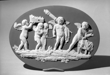 Wedgwood & Bentley (1759-present). Plaque, ca. 1776 - 1780. Jasper ware, 9 7/8 x 14 in. (25.1 x 35.6 cm). Brooklyn Museum, Gift of the Estate of Emily Winthrop Miles, 64.82.66. Creative Commons-BY