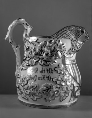 Attributed to Charles Cartlidge & Co. (1848-1856). Pitcher, ca. 1850. Porcelain, 13 x 14 x 10 3/8 in. (33 x 35.6 x 26.4 cm). Brooklyn Museum, Gift of Alice Corey Robertson, 64.83.3. Creative Commons-BY