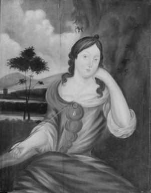 American. Lady with an Arrow, ca. 1715. Oil on wood panel, 26 3/8 x 21 1/16 in. (67 x 53.5 cm). Brooklyn Museum, Purchased with funds given by anonymous donors and the Dick S. Ramsay Fund, 64.89.1