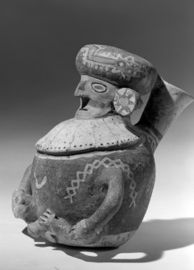 Recuay. Human Effigy Vessel, 0-650 C.E. Clay, resist decoration, slips, 6 1/2 x 6 5/16 in.  (16.5 x 16.0 cm). Brooklyn Museum, Charles Stewart Smith Memorial Fund, 64.95.2. Creative Commons-BY