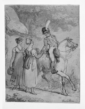 Thomas Rowlandson (British, 1756-1827). Two Women Saying Goodbye to Mounted Soldier, 1810-1815. Drawing with watercolor on wove paper, 7 1/4 x 5 3/4 in. (18.4 x 14.6 cm). Brooklyn Museum, Gift of the Estate of Emily Winthrop Miles, 64.98.293