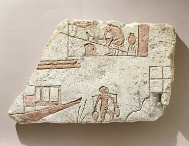 """Fragmentary Slab, """"Riverside Scene,"""" ca. 1352-1336 B.C.E. Limestone, painted, 9 1/4 x 15 x 1 11/16 in. (23.5 x 38.1 x 4.3 cm). Brooklyn Museum, Charles Edwin Wilbour Fund, 65.16. Creative Commons-BY"""