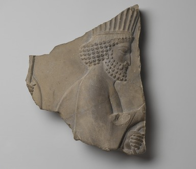 Relief of Persian Guard, 5th-4th century B.C.E. Limestone, 10 1/2 x 9 x 1 7/8 in. (26.6 x 22.8 x 4.7 cm). Brooklyn Museum, Gift of the Kevorkian Foundation in memory of Hagop Kevorkian, 65.195. Creative Commons-BY
