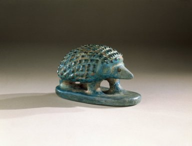 Hedgehog, ca. 1938-1700 B.C.E. Faience, 1 5/8 x 1 5/8 x 2 13/16 in. (4.2 x 4.1 x 7.1 cm). Brooklyn Museum, Charles Edwin Wilbour Fund, 65.2.1. Creative Commons-BY