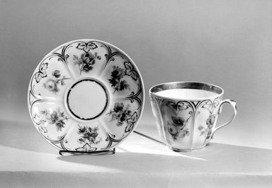 Charles Cartlidge & Co. (1848-1856). Cup and Saucer, ca. 1850. Porcelain, Cup (a): 3 1/2 x 5 3/8 x 4 1/2 in. (8.9 x 13.7 x 11.4 cm). Brooklyn Museum, Gift of Mrs. Henry W. Patten, 65.201.1a-b. Creative Commons-BY