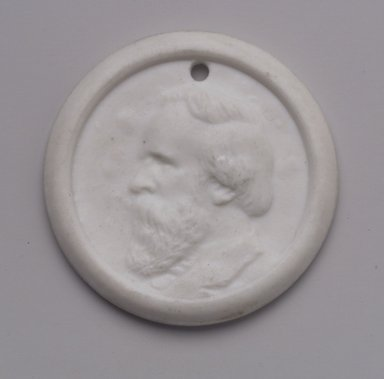 Charles Cartlidge & Co. (1848-1856). Medallion, ca. 1865. Porcelain, 1 7/8 x 1 7/8 x 3/16 in. (4.8 x 4.8 x 0.5 cm). Brooklyn Museum, Gift of Mrs. Henry W. Patten, 65.201.2. Creative Commons-BY