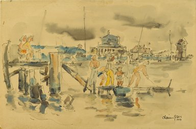 Chaim Gross (American, born Austria, 1904-1991). Sheepshead Bay, 1941. Watercolor and ink on beige, moderately thick, moderately textured wove paper, 11 7/8 x 17 15/16 in. (30.2 x 45.6 cm). Brooklyn Museum, Gift of Daniel and Rita Fraad, Jr., 65.204.4. © Renee and Chaim Gross Foundation