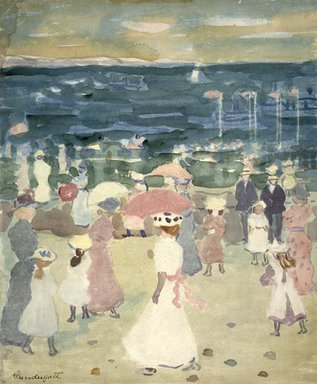Maurice Brazil Prendergast (American, 1858-1924). Sunday on the Beach, ca. 1896-1898. Watercolor on cream, moderately thick, moderately textured wove paper, 17 3/4 x 13 5/16 in. (45.1 x 33.8 cm). Brooklyn Museum, Gift of Daniel and Rita Fraad, Jr., 65.204.9