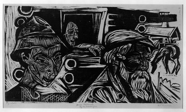Ernst Ludwig Kirchner (German, 1880-1938). Shepherd, Farmer, Girl (Hirt, Bauer, Mädchen), 1919. Woodcut on laid paper, Image: 14 1/4 x 25 3/4 in. (36.2 x 65.4 cm). Brooklyn Museum, A. Augustus Healy Fund, 65.23.2
