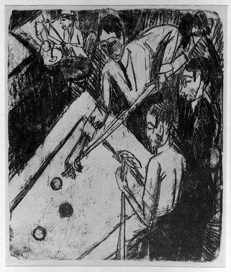 Ernst Ludwig Kirchner (German, 1880-1938). Billiard Players (Billardspieler), 1915. Lithograph on wove paper, Image: 23 3/8 x 19 13/16 in. (59.4 x 50.3 cm). Brooklyn Museum, A. Augustus Healy Fund, 65.23.3