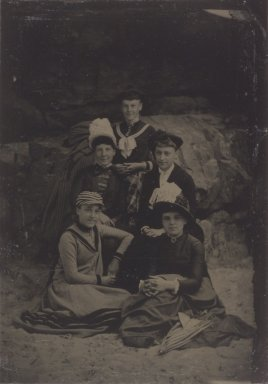 [Untitled]  (Five Women, One Standing), 1888. Tintype, 3 9/16 x 2 1/2 in.  (9.0 x 6.4 cm). Brooklyn Museum, Gift of Roland Hart, 65.230i