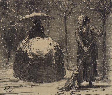 Honoré Daumier (French, 1808-1879). The Crinoline in Winter (La Crinoline en temps de neige), November 13, 1858. Lithograph on newsprint, Image: 8 3/4 x 10 5/16 in. (22.2 x 26.2 cm). Brooklyn Museum, Gift of Sydel Solomon, 65.265.1