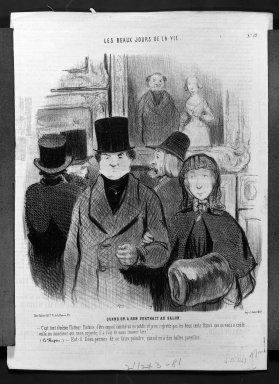 Honoré Daumier (French, 1808-1879). When One's Portrait Is Exhibited at the Salon (Quand on a son portrait au salon), April 26, 1845. Lithograph on newsprint, Sheet: 13 7/16 x 19 7/8 in. (34.1 x 50.5 cm). Brooklyn Museum, Gift of Sydel Solomon, 65.265.16