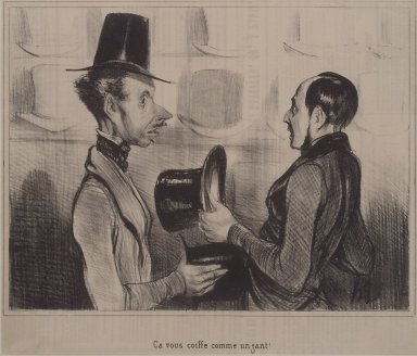 Honoré Daumier (French, 1808-1879). Ça Vous Coiffe Comme un Gant, July 14, 1842. Lithograph on newsprint, Sheet: 8 13/16 x 10 9/16 in. (22.4 x 26.8 cm). Brooklyn Museum, Gift of Sydel Solomon, 65.265.3