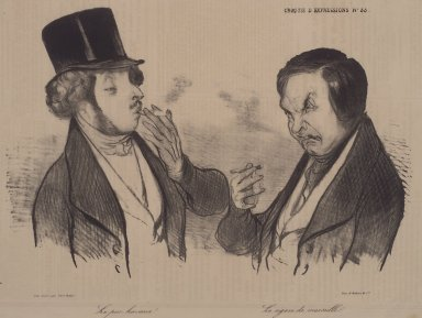 Honoré Daumier (French, 1808-1879). A Genuine Havana! - The Cigar from Marseille. (Le pur Havane!--Le cigare de Marseille.), November 7, 1838. Lithograph on newsprint, 9 15/16 x 12 11/16 in. (25.2 x 32.2 cm). Brooklyn Museum, Gift of Sydel Solomon, 65.265.4