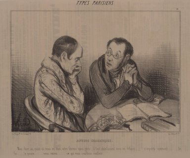 Honoré Daumier (French, 1808-1879). Auteurs Dramatiques, June 24, 1841. Lithograph on newsprint, Sheet: 9 3/4 x 13 9/16 in. (24.8 x 34.4 cm). Brooklyn Museum, Gift of Sydel Solomon, 65.265.5
